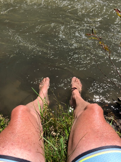 Soaking feet in Wind River